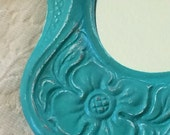 Neoclassic Oval Mirror - Small Gothic Ornate Plaster Framed Mirror - Turquoise Green