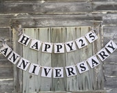 Silver Anniversary Banner - 25th Anniversary Party Decoration -25th or 40th or 50th Anniversary - Happy Anniversary Sign You Pick the Colors