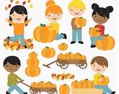 pumpkin patch clipart clip art digital - Pumpkin Patch Kids Digital Clipart