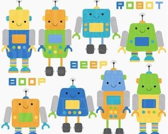 robot clip art digital clipart - Robot Friends Digital Clip Art