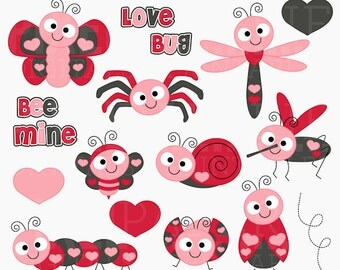 valentine's day hearts mosquito bee butterfly ladybug spider caterpillar bugs insects clipart clip art - Love Bugs Digital Clipart