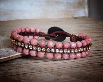 Boho Chic Bracelet - Bohemian Jewelry - Boho Hippie - Rhinestone Leather Bracelet - pink boho jewelry - handmade unique jewelry
