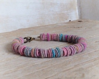 Beaded Bracelet, Fabric Textile Beads, Fiber Art