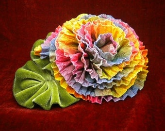 Rainbow Ruffled Rose Ribbon Flower Millinery Applique
