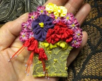 Miniature Ribbon Flower Basket