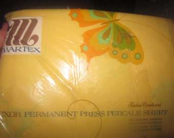 Yellow Butterfly Martex Percale NEW 70s Vintage Bed sheet Queen Flat & fitted Sheet Made in USA 1970/fitted/Queen/Rare