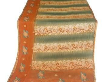 Used georgette Sari, Dress Making, Fabric, Sarong, Drape, Embroidered Sari in grey and rust