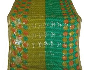 Used Sari, Dress Making, Fabric, Sarong, Drape, Embroidered Sari in green,lime and orange.