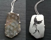 Phoenix Flower of Life Pendant - Sterling silver and Labradorite - Handcrafted Sacred Geometry Jewellery