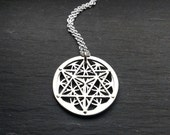 Small Star Tetrahedron and Flower of Life Pendant - sterling silver and 9ct gold - Handcrafted Sacred Geometry Jewellery