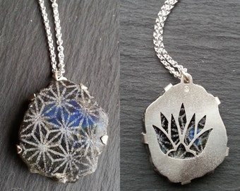 Lotus Asanoha Pendant - Sterling silver and Labradorite - Handcrafted Sacred Geometry Jewellery