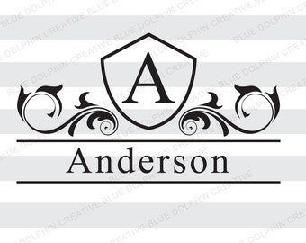 Mailbox Monogram Letter Name Frame SVG png pdf / front door decal /Cricut, Silhouette / diy vinyl lettering / HTV vinyl file / die cut