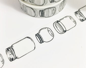 Black and Opaque White Jars Mason Jars Row of Jars Washi Tape 11 yards 10 meters 15mm