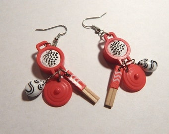 Mice like Rice toy earrings upcycled kitsch kawaii Rice bowl with chopsticks glass mouse beads