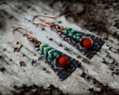 Layers of Color, Embossed Copper Earrings - handmade earrings with a unique layers of orange-red and turquoise