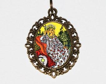 Tarot Empress Necklace, Mystical, Occult, Tarot Card Jewelry, The Empress, Bronze Oval Pendant