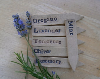 Ceramic plant markers - Pottery seed tags - Stoneware plant labels -  set of 3 - Made to order