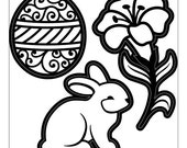 EASTER THEME 3 Piece Die Cut Embossing Stencil Set by Darice