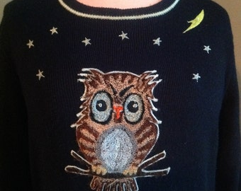 Vintage 1970's Embroidered Owl Sweater