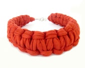 Orange T-shirt Yarn Macrame Knot Choker Necklace