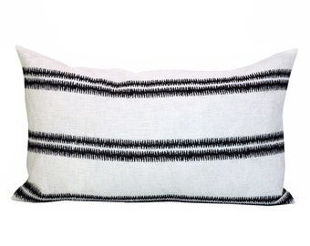 Paloma Embroidery lumbar pillow cover in Ebony