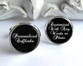 Personalized Cufflinks, Wedding Cufflinks, Any Words Or Photo, Groomsman Gift