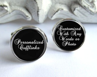 Personalized Cufflinks, Wedding Cufflinks, Any Words Or Photo, Groomsman Gift