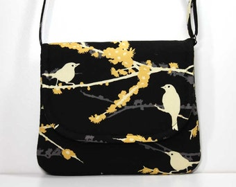 Small Foldover Crossbody Bag Small Shoulder Purse Sling Bag Hobo Bag Cross Body Bag - Cream Birds / Sparrows on Black - Joel Dewberry Fabric