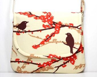 Small Foldover Crossbody Bag Small Shoulder Purse Sling Bag Hobo Bag Cross Body Bag - Brown Birds / Sparrows on Cream- Joel Dewberry Fabric