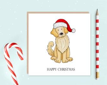 Golden Retriever Christmas Card, golden retriever, dog card, Christmas card, ideal for Christmas, ideal gift for dog lovers