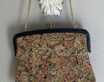 Vintage Tapestry Purse, Retro Tapestry Purse,
