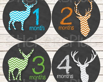 Baby Boy Month Stickers Monthly Baby Stickers, Milestone Baby Month Stickers, Monthly Bodysuit Deer Antler Chevron Chalkboard Chalk Hunter