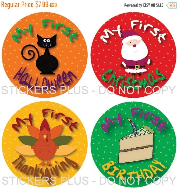 SALE First Birthday Holidays II Baby Milestone Stickers Boy or Girl - Christmas 1st Birthday Halloween Easter Thanksgiving and More