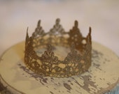 Newborn Baby Crown, Hand Painted Gold Lace Crown, Newborn Photography P rop, Baby Crown, Lace Crown, Boy, Girl,  Prince