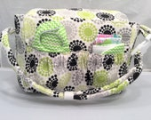 Doll size Diaper Bag in 'Geometrics in Green' with Gray and White Chevrons Lining and all the goodies