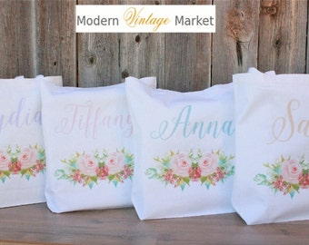 Bridesmaid Bags,4 Gift bags,Monogrammed tote bags, Chevron bags,Bridesmaid bags,60 colors to chose from by Modern Vintage Market