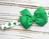 St. Patricks Day Bow Headband, St. Patricks Day Headband, Clover Bow Headband