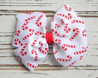 Christmas Pinwheel Hair Bow - Christmas Hairbow - Candy Cane Hair Bow - Christmas Hair Bow