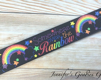 "7/8"" - Somewhere Over the Rainbow Colorful Glittered on High Quality Black Grosgrain Ribbon, Rainbow Ribbon, Wizard of Oz, USDR"