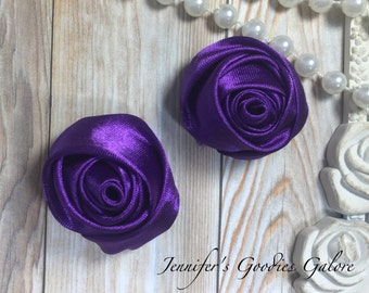 "Set of TWO Purple 2"" Satin Rosette Flower Heads, Rolled Roses Wholesale Mini Rosettes for Baby Headbands"