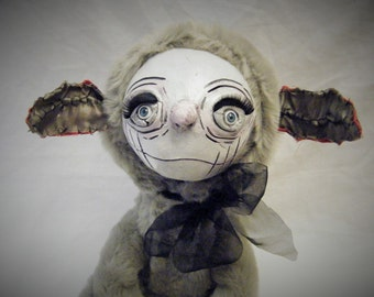Mr Grumples The Spring Lamb Ooak Whimsical Creature Art Doll - Sculpture