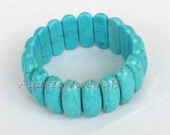 Turquoise Elastic Bracelet Turquoise Bracelet Turquoise Bead bracelet Sister - sister gift, friend gift, mothers gift, wedding gift