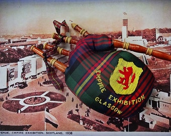 Bagpipes, Tartan Bagpipes, Miniature Bagpipes,Empire Exhibition Glasgow, 1938 Souvenir Bag pipes, Home and Living