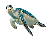 Sea Turtle Image,Water Baby Image, Teal Sea Turtle Cutout, Fish Image,Fish Template,Large Poster,Wall Décor,Kids Nursery Room Décor, Dolphin