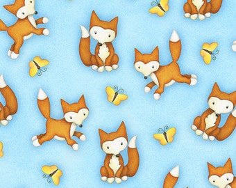 """Fox on Blue Fabric, Noah's Ark Fabric """"Two By Two"""" by Beth Logan for Henry Glass, 100% Cotton, Great for Quilting, Sewing!"""