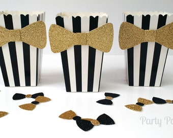 Black and White Popcorn Boxes with bow-tie, set of 10 wedding, Oscars, black tie, birthday