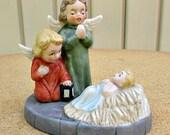 vintage 50s lefton nativity scene angels baby jesus hand painted