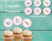 Grey and Pink Chevron Baby Shower Cupcake Toppers. Digital file. Little Peanut Baby Shower Cupcake Toppers. Elephant Baby Shower. Baby Girl