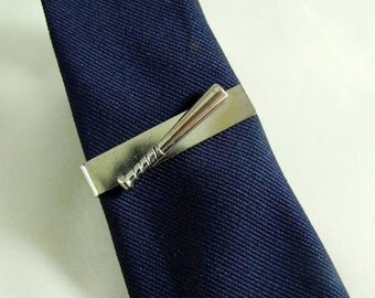 Tie Bar Tie Clip  Mens Silver Sports Baseball Bat Mens Accessory  Handmade