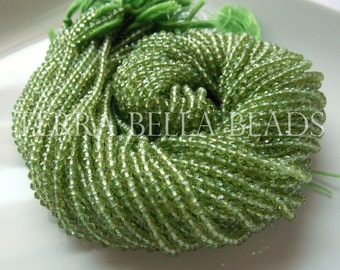 """Full 13"""" strand AAA PERIDOT micro faceted round gem stone beads 3mm"""